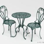 緑のヨーロピアン風ガーデンテーブルセットの3Dモデル