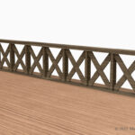 木製の転落防止柵(フェンス)の3Dモデル