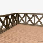 木製の転落防止柵(フェンス)のコーナー部分の3Dモデル