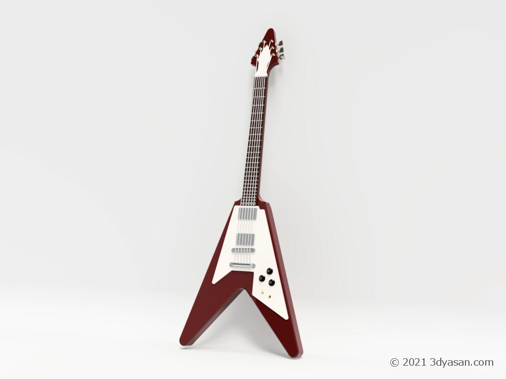 エレキギター(フライングV)の3Dモデル