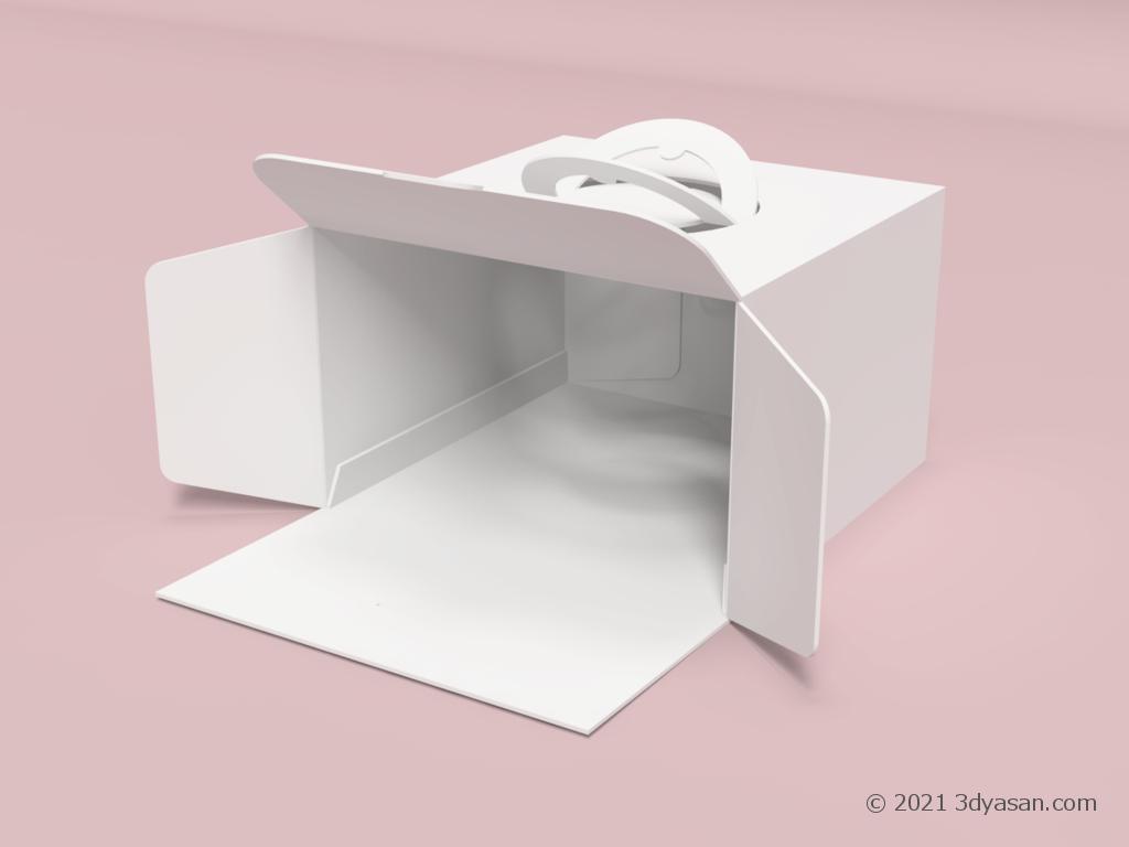 開いたホールケーキ用紙箱の3Dモデル