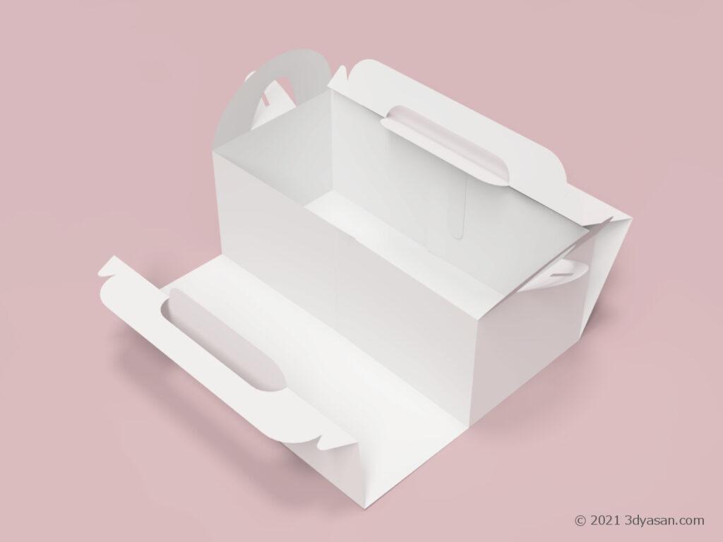 ケーキやドーナツを入れる開いた紙箱の3Dモデル