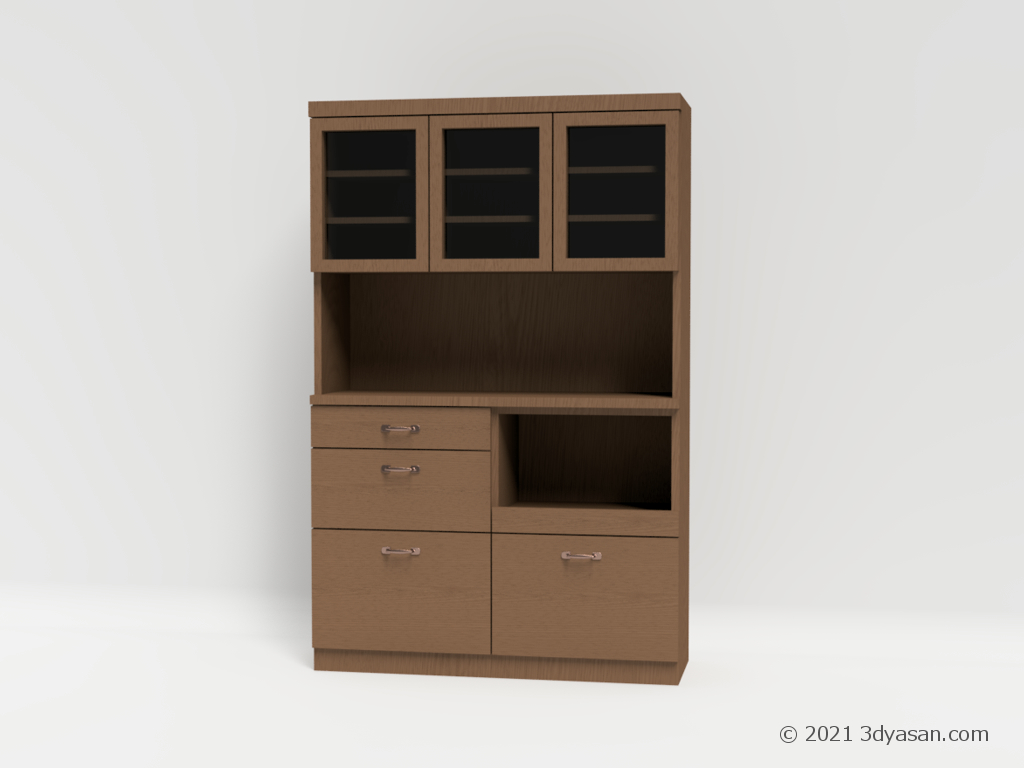 食器棚(キッチンキャビネット)の3Dモデル