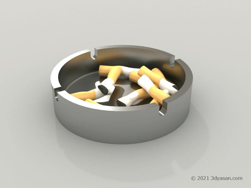 吸い殻が入っている灰皿の3Dモデル