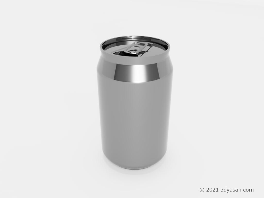 プルタブが開いたアルミ缶の3Dモデル