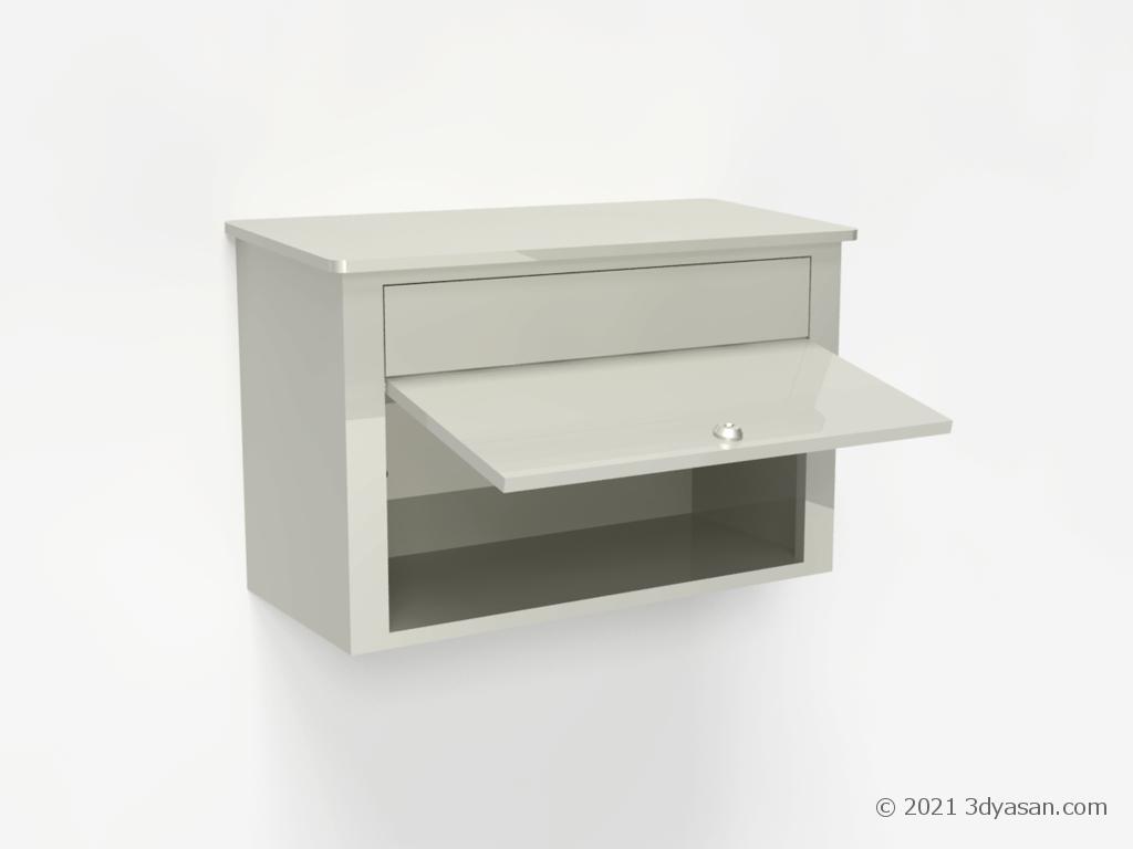 開いた玄関ポストの3Dモデル