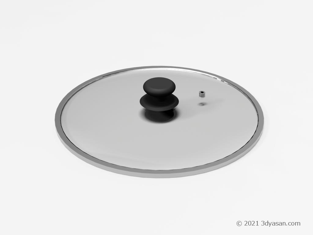 両手鍋のフタの3Dモデル