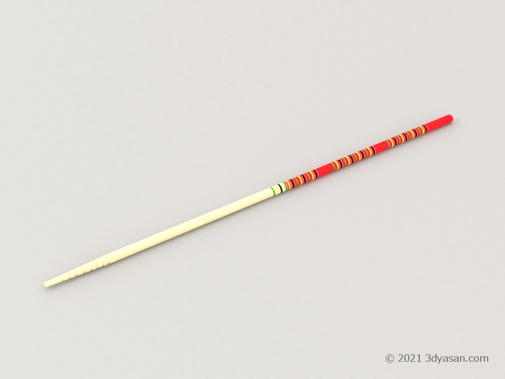 菜箸(1本のみ)の3Dモデル