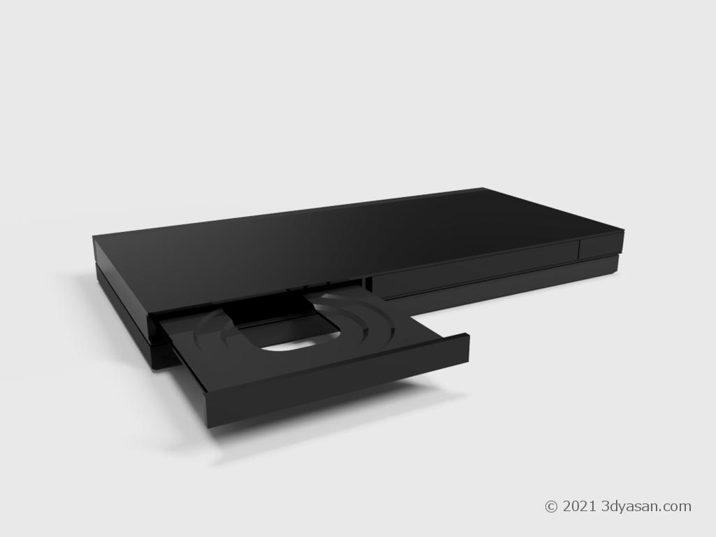 BD/DVDレコーダーのディスクトレイが開いた状態の3Dモデル