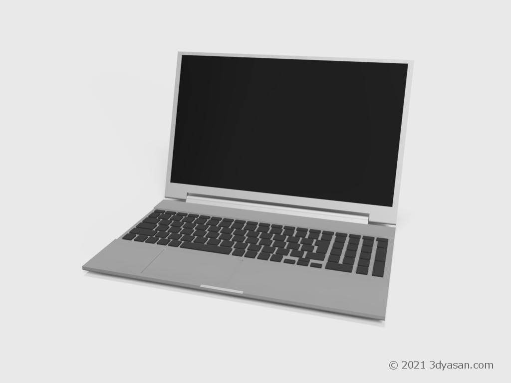 開いたノートパソコンの3Dモデル