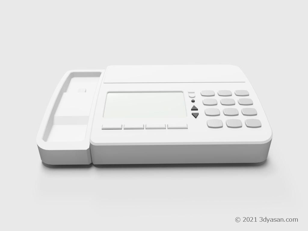 ファックス付き電話機の本体のみの3Dモデル