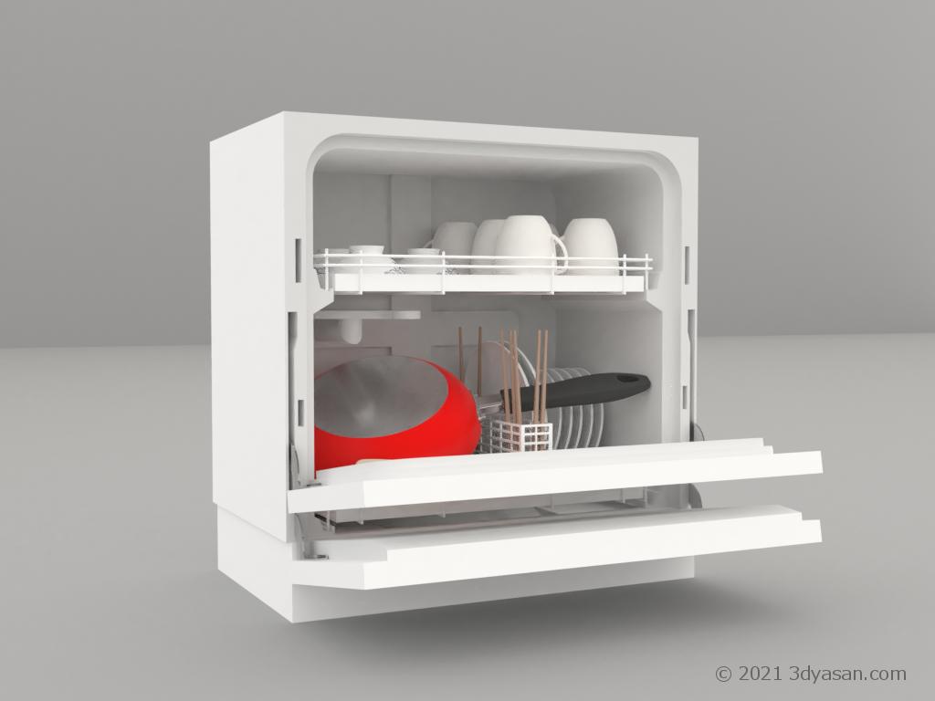 開いた食洗器(中身あり)の3Dモデル