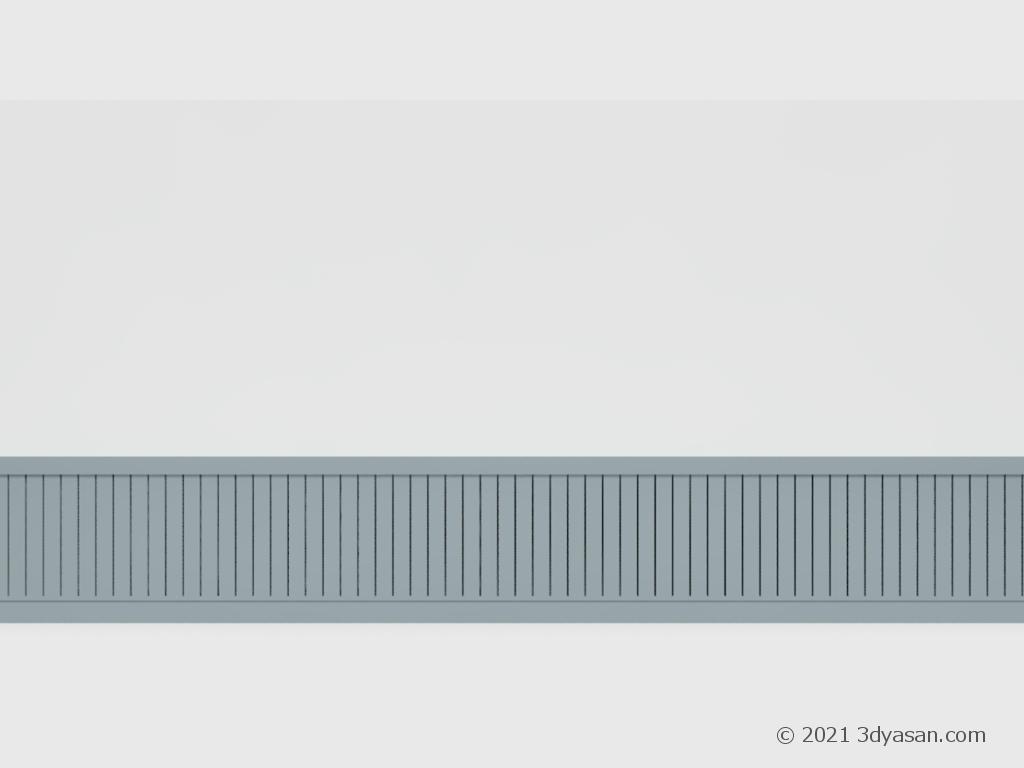 腰壁付き壁の3Dモデル