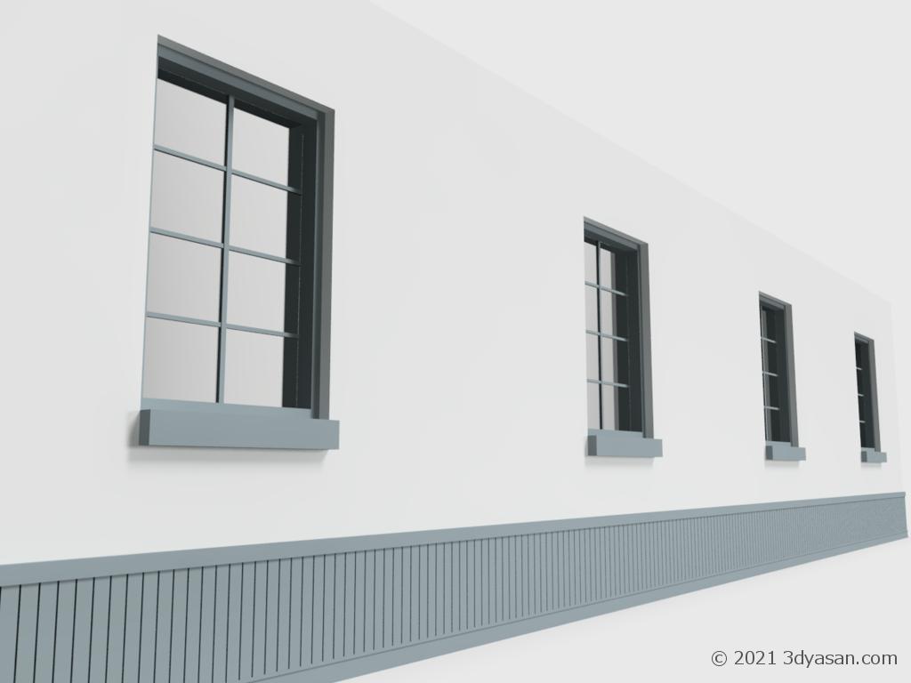 腰壁と窓付き壁の3Dモデル