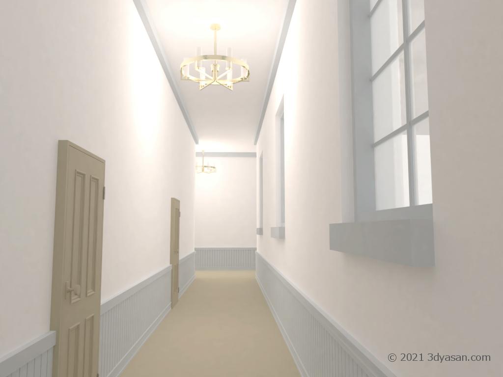 洋館廊下の3Dモデル