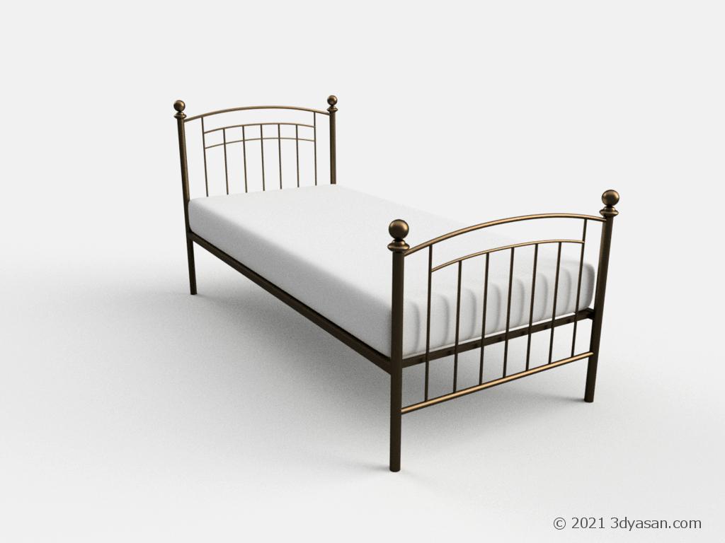 アンティーク調シングルベッドの3Dモデル