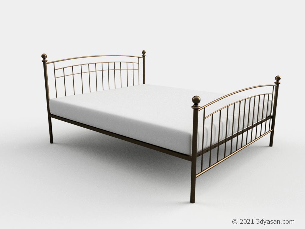 アンティーク調クイーンサイズベッドの3Dモデル