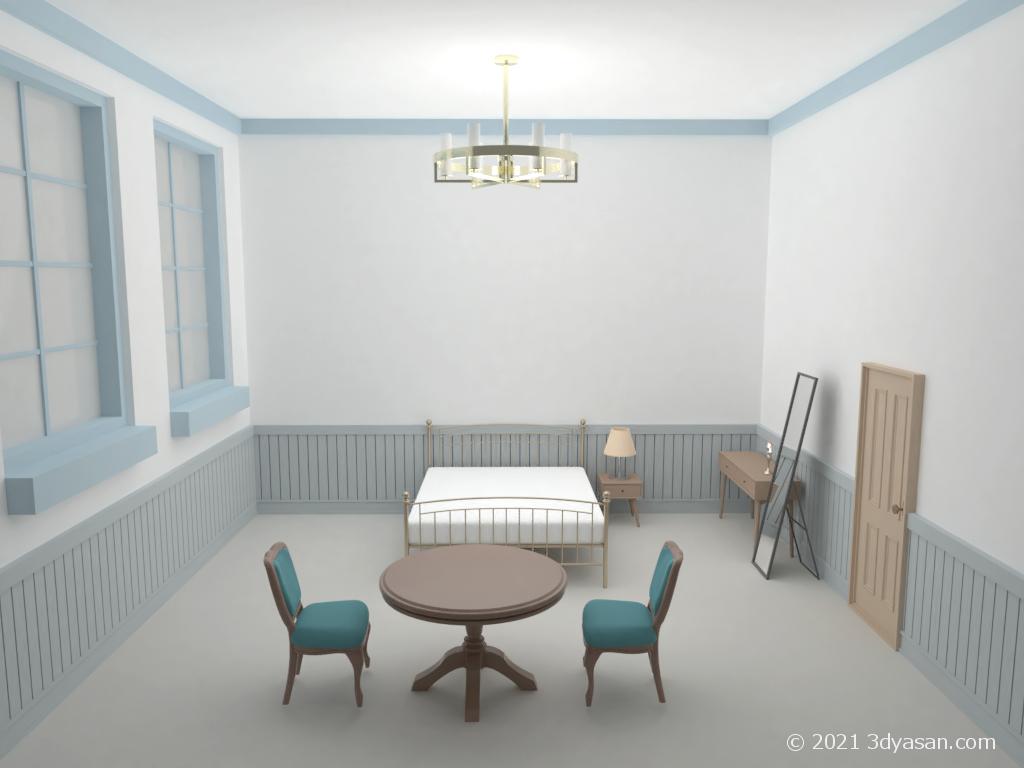 西洋風客室の3Dモデル