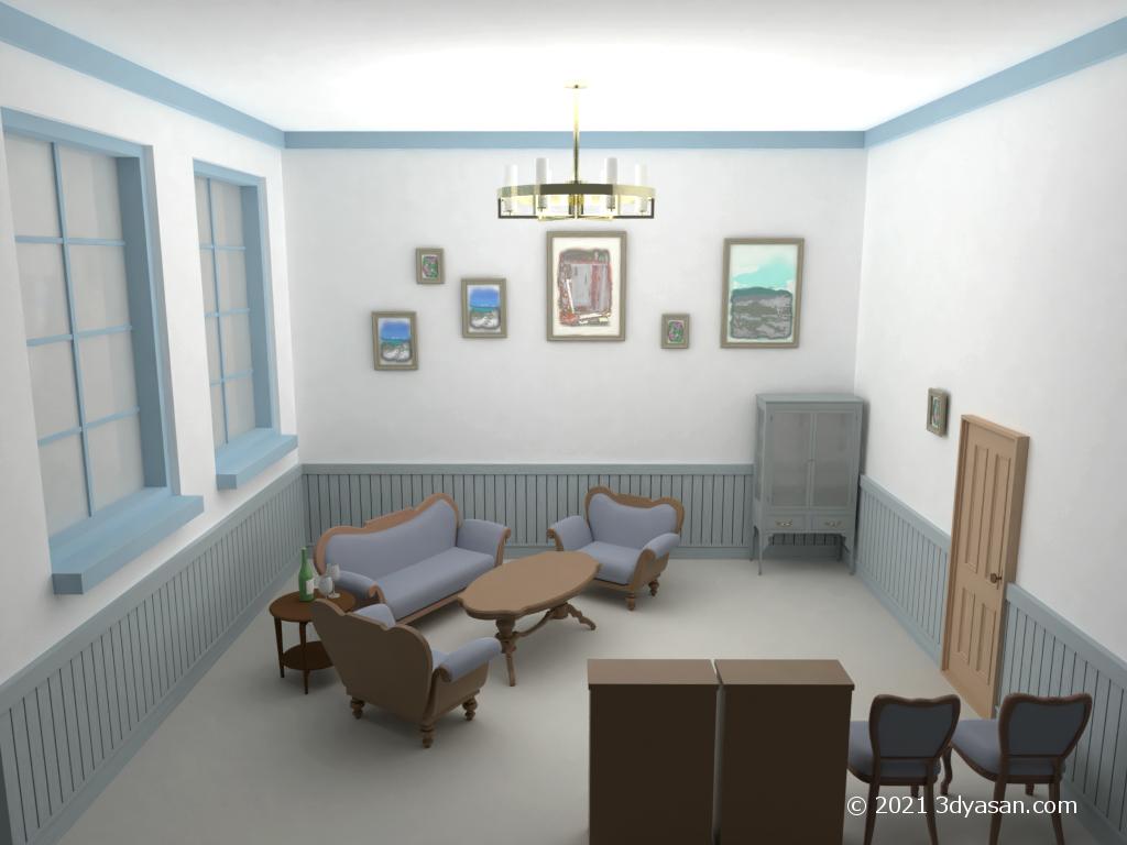 西洋風応接室の3Dモデル