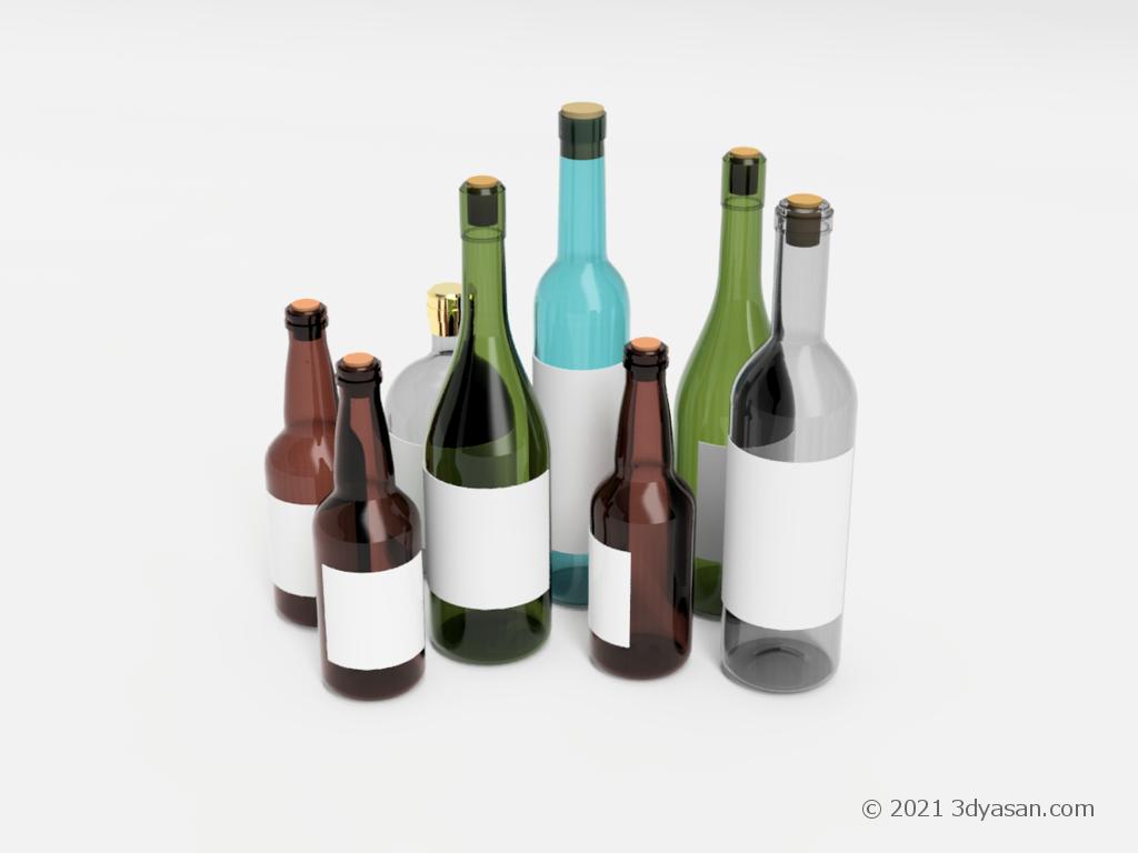 酒瓶の集まりの3Dモデル