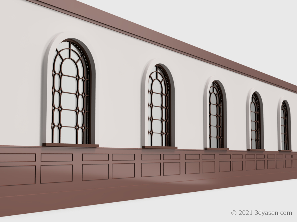腰壁付き壁(アーチ窓付き)の3Dモデル
