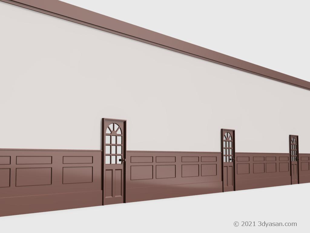 腰壁付き壁(室内ドアつき)の3Dモデル