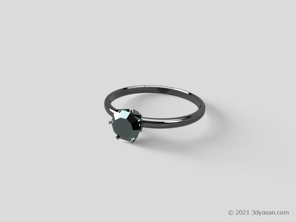 宝石付き指輪の3Dモデル